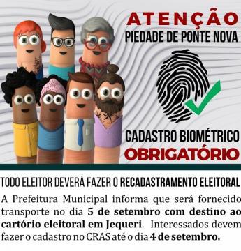 Atenção - Cadastro Biométrico